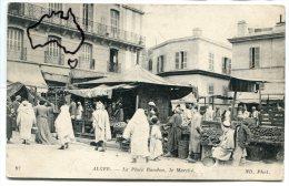 - 97 - ALGER - La Place Randon, belle animation, le march�, peu courante, �talages, non �crite, TBE, scans.