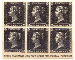 Great Britain Black Penny Facsimile Issue In A Block Of 6 - Essays, Proofs & Reprints