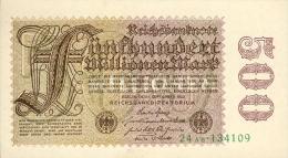 Deutschland, Germany - 500 Mio. Mark, Reichsbanknote, Ro. 109 B,  ( Serie AB )  XF+ ( II+ ), 1923 ! - [ 3] 1918-1933: Weimarrepubliek