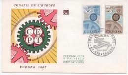 FRANCE 1967  F.D.C.CONSEIL DE L'EUROPE.C.E.P.T. EUROPA 1967.OBLITERATION:LE29/4/67 STRASBOURG - FDC