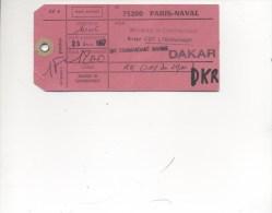 ETIQUETTE DE DEPECHE POSTALE CAD 75200 PARIS NAVAL 20/10/1987 à Destination De DAKAR / VOL AIR AFRIQUE RK 011 - Postmark Collection (Covers)