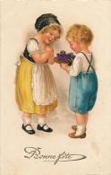 """ENFANTS - LITTLE GIRL - Jolie Carte Fantaisie Enfants Avec Bouquet De Violettes """"Bonne Fête """" - Kindertekeningen"""