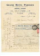 GRAND HOTEL  PARISIEN  LE HAVRE  09 01 1931 - Marcophilie (Lettres)