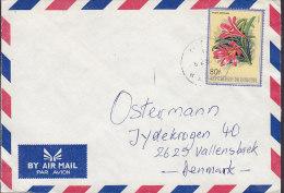 Burundi By Air Mail Par Avion 1987 Cover Brief VALLENSBÆK Denmark 80 Fr. Blume Flower Fleur Clivia - 1980-89: Usati