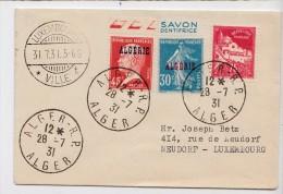 Algerie : Lettre Destination Luxembourg Semeuse Pasteur Pub Carnet Au Tarif - 28 Juillet 1931 - Storia Postale