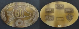 RARE ! PLAQUE MOTO 60 ANS DU CIRCUIT NURBURGRING - ALLEMAGNE - GERMANY - MEDAILLE - 164 G - 112 * 77 Mm - Motos