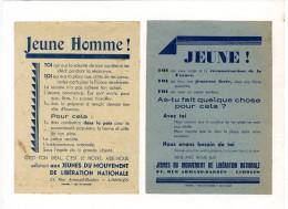LIMOGES   JEUNE !  MOUVEMENT DE LA LIBERATION NATIONALE  -  2 TRACTS GUERRE 39 45  COLLES SUR UN SUPPORT CARTONNEE - 1939-45