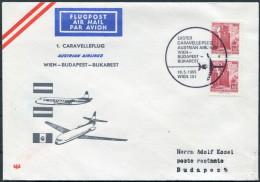 1965 Austria Hungary AUA First Flight Cover Wien - Budapest - First Flight Covers