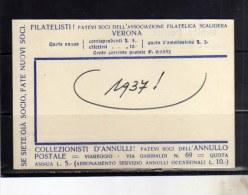 ITALIA REGNO ASSOCIAZIONE FILATELICA SCALIGERA VERONA 1937 FILATELISTI FATEVI SOCIO FATE NUOVI SOCI CARTOLINA FILATELICA - Borse E Saloni Del Collezionismo