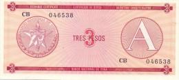 BILLET CUBA   3  PESOS  SERIES  A  UNC
