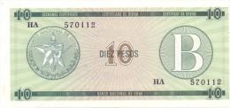 BILLET CUBA  10  PESOS   SERIES  B UNC
