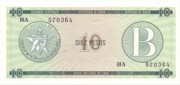 BILLET CUBA  10  PESOS   SERIES  B UNC - Cuba