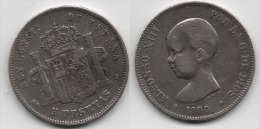 + ESPAGNE + 5 PESETAS 1890 + ALFONSO XIII + - [ 1] …-1931 : Royaume