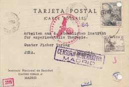 SPANIEN 1943 Postkarte Mit Zensur Madrid, 2 Fach Frankiert, 8 Stempel - 1931-50 Briefe U. Dokumente