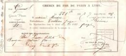 BILLET TRAIN CHEMIN FER PARIS LYON PLM 1855 ?? RECU CHEF DE GARE