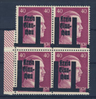 Lokalausgaben Glauchau Michel No. 15 ** postfrisch Viererblock Aufdruck verschoben / eine Marke defekt