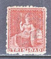 Trinidad   18 A  LAKE  PERF.  12 1/2  Fault   (o)   1859  ISSUE - Trinidad & Tobago (...-1961)