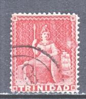 Trinidad   58b  PERF 14  LAKE   (o)  Wmk REVERSED CC   1876 Issue - Trinidad & Tobago (...-1961)