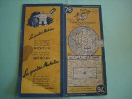 CARTE MICHELIN 1951 N°76 AURILLAC SAINT ETIENNE MAPS KARTE CARTOLINA ОТКРЫТ - Cartes Routières