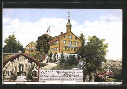 AK St. Iddaburg, Wallfahrtskapelle, Lourdes-Grotte, Letzter Rest Der Alten Toggenburg - SG St. Gall