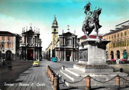 [DC5485] CARTOLINA - TORINO - PIAZZA SAN CARLO - AUTO - ANIMATA - Viaggiata - Old Postcard - Italia