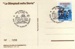 Italia 2000 Cartolina Annullo Rapallo Mostra Filatelica: Le Olimpiadi Nella Storia Partenone Di Atene - Giochi Olimpici