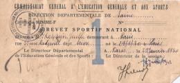 Brevet Sportif National - Département De La Seine - Juillet 1942 - Diplômes & Bulletins Scolaires