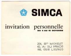 Carte Dépliante Invitation Personnelle Simca, Traction Avant Simca 1100 ( Marseille ) - Publicités