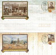 DESERT  GOLD    SERIE  4 BUSTE  45C    (FIRST DAY  ISSUE)   2 SCAN - Interi Postali