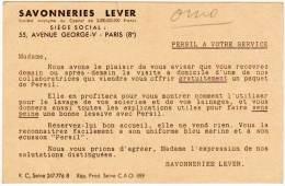 """Carte """" Avis De Passage """" , Savonneries Lever, ( Lessive Persil ) - Reclame"""