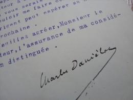 Charles DANIELOU (1878-1953) Ministre. Maire LOCRONAN. FINISTERE - AUTOGRAPHE - Autographes
