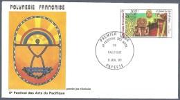 POLYNESIE FRANCAISE FDC Du PA 187 YT EPJ Festival Des Arts 1985 - FDC