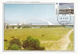 Spain Maxicard – España Tarjeta Máxima Con Sello Personalizado Del Puente Lusitania De Mérida - Ponti