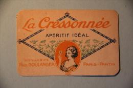 Image Publicitaire - La Créssonnée, Apéritif Idéal, Distillerie BOULANGER, PARIS PANTIN - Vieux Papiers