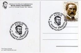Italia 2013 Cartolina Annullo Arezzo AREZZOFIL Michelangelo Buonarroti - Célébrités