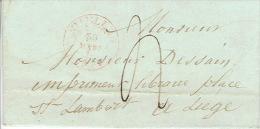 LAC NIVELLES 30 Mars 1847 Vers LIEGE Lettre Signée CUISENAIRE - 1830-1849 (Belgique Indépendante)