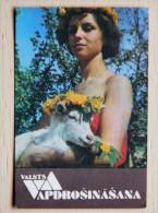Calendar From  Latvia 1991 Ussr Woman Animal Goat - Kalender