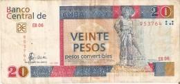 BILLETE DE CUBA DE 20 PESOS CONVERTIBLES DEL A�O 2006  (BANKNOTE)