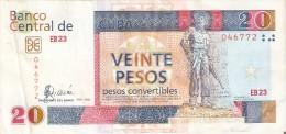 BILLETE DE CUBA DE 20 PESOS CONVERTIBLES DEL A�O 2006  (BANKNOTE) CAMILO CIENFUEGOS
