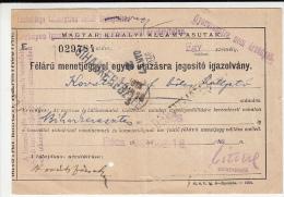 17362- RAILWAY TRANSPORTATION HALF PRICE ONE WAY TICKET, 1925, HUNGARY