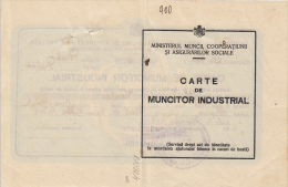 17368- INDUSTRIAL WORKER CERTIFICATE, FOR HEALTH INSURANCE, 1928, ROMANIA - Documenti Storici