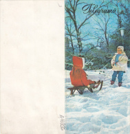 17388- HAPPY NEW YEAR, CHILDRENS WITH SLEIGH, TELEGRAMME, ROMANIA - Télégraphes