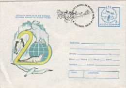 17394- POLAR PHILATELIC EXHIBITION, WHALE, POLAR BEAR, PENGUIN, DOG SLEIGH, COVER STATIONERY, 1988, ROMANIA - Polarmarken