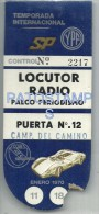7562 AUTOMOBILE CAR RACE AUTO CREDENCIAL PARA PERIODISTA TEMPORADA INTERNACIONAL PUBLICITY YPF 1970 NO POSTAL POSTCARD - Old Paper