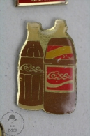 Two Vintage Coca Cola Advertising Bottles - Pin Badge #PLS - Coca-Cola