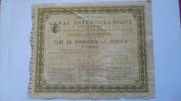 RARE : CANAL INTEROCEANIQUE DE PANAMA 1880 : PART DE FONDATEUR AU PORTEUR - Navigation