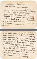 """Carte De Visite """" Chambre Des Députés """", Signée - Cartes De Visite"""