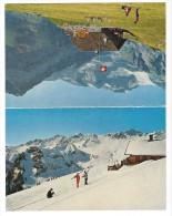 12300 - Carte Double Publicité Restaurant Coquoz Planachaux Champéry Skieurs - VS Valais
