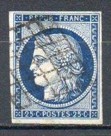 FRANCE - 1849-50 - Type Cérès - N° 4a - 25 C. Bleu Foncé - (Oblitération Grille) - 1849-1850 Cérès
