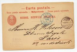 1885 - ENTIER POSTAL De LAUSANNE (SUISSE) Pour PARIS Avec CACHET D'ENTREE BLEU - Postmark Collection (Covers)